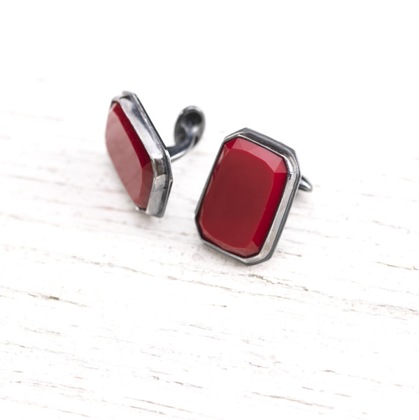 Vibrant Red Antique Glass Cufflinks