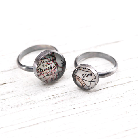 Antique Map Ring - CUSTOM