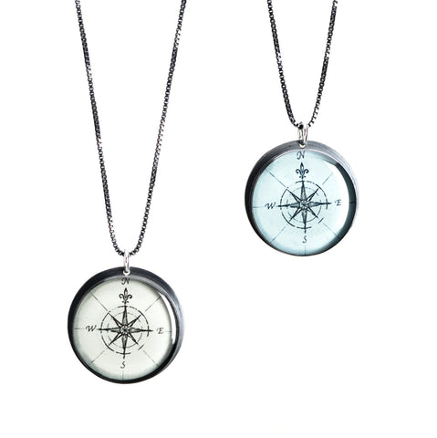 Compass Rose - Antique Map Pendant