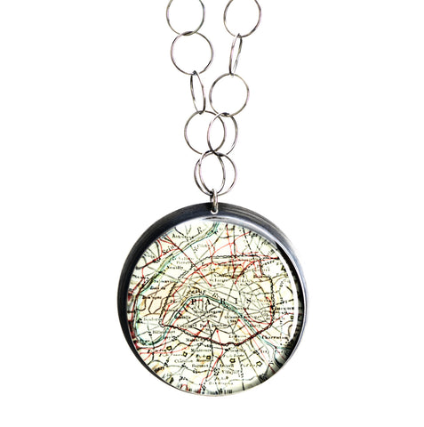 Antique Map Wanderlust Necklace - CUSTOM