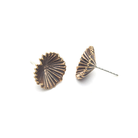 Deco Fan Flower Bronze Post Earrings