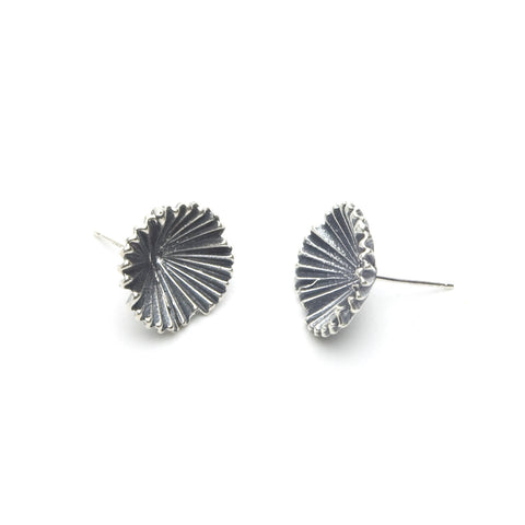 Deco Fan Flower Sterling Post Earrings