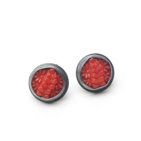 Red Fern Antique Glass Post Earrings