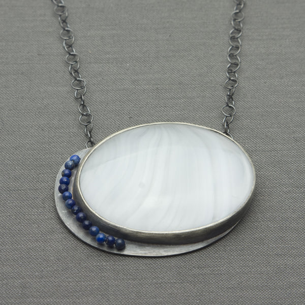 Antique Glass and Lapis Bead Necklace