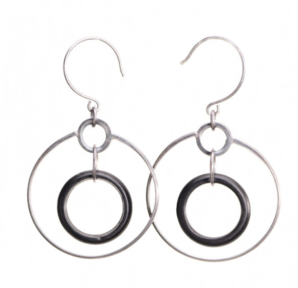 Mobile Hoop Earrings in Antique Black Wood
