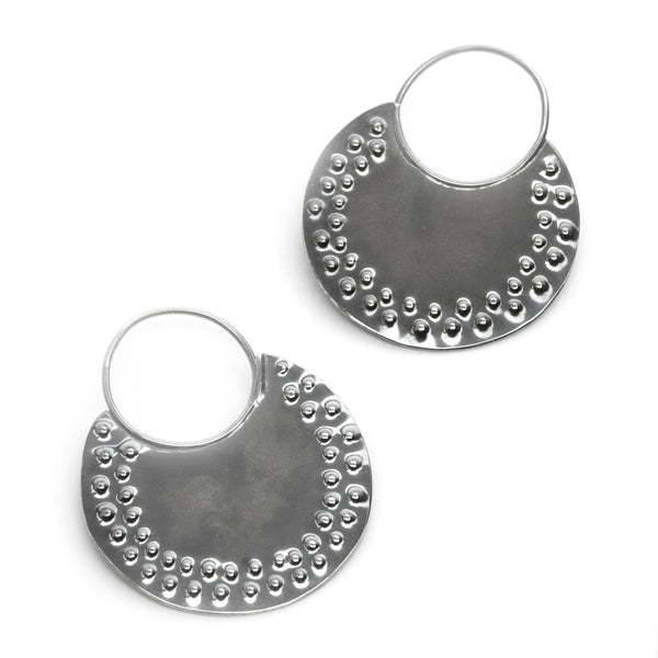Dotted Sterling Disc Earrings