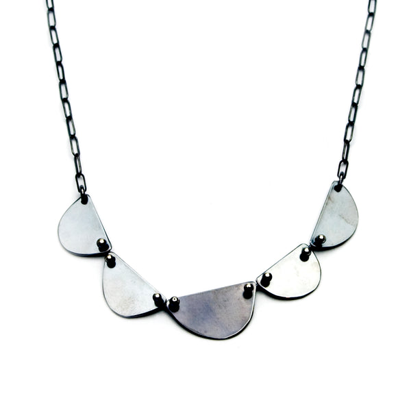 Cape Town Necklace - Five Oxidized Sterling -Small