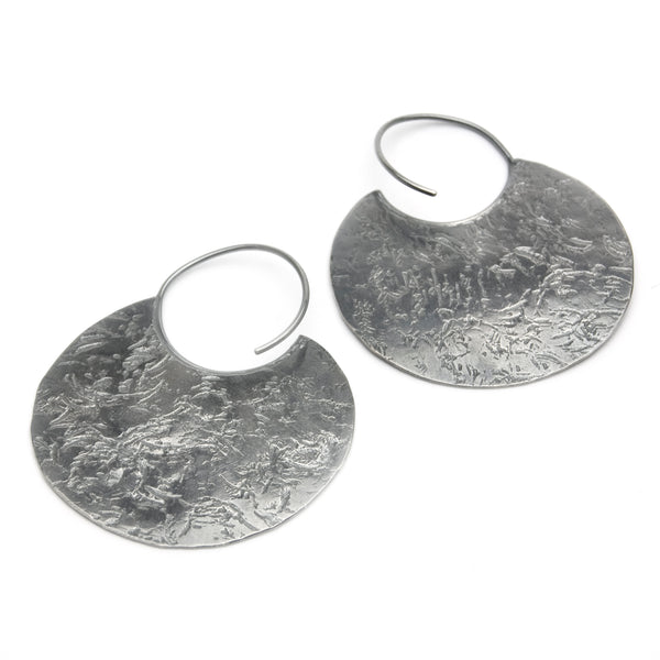 Distressed Sterling Disc Earrings