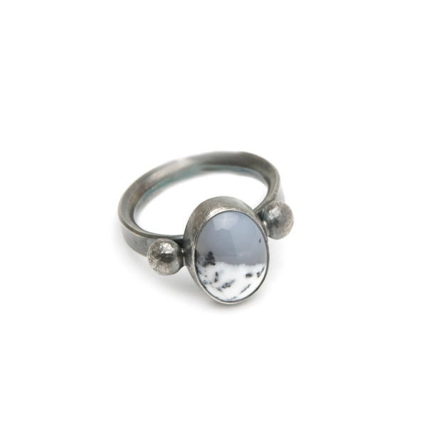 Dendritic Agate Ring - Winter Scene