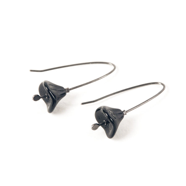 Blossom Vintage Glass Sterling Earrings - Jet Black