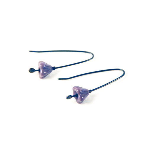 Blossom Vintage Glass Sterling Earrings - Lilac