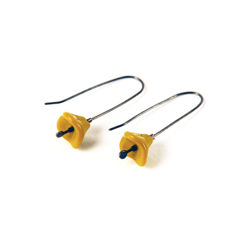 Blossom Vintage Glass Sterling Earrings - Mustard