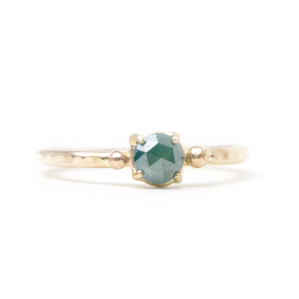 Solitaire Bubble Ring 14K Yellow Gold & Blue Raw Diamond - size 7