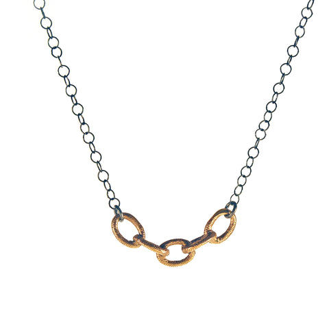 Linked Together Bronze and Sterling Necklace
