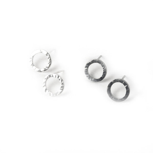 Sterling Circle Textured Post Earrings
