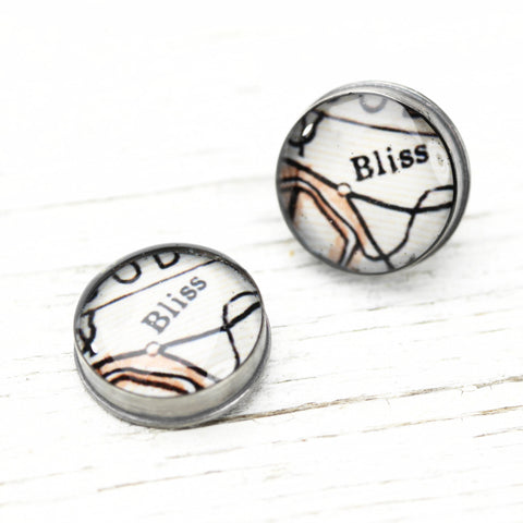 Antique Map Post Earrings - CUSTOM