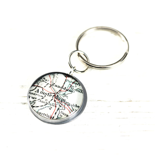 Antique Map Key Ring - CUSTOM
