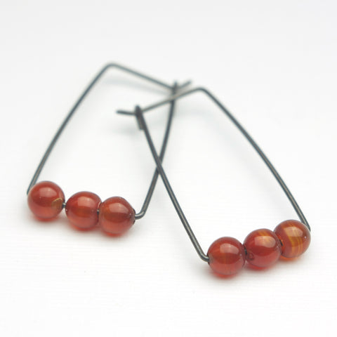 Perch Earrings :  Carnelian Rounds