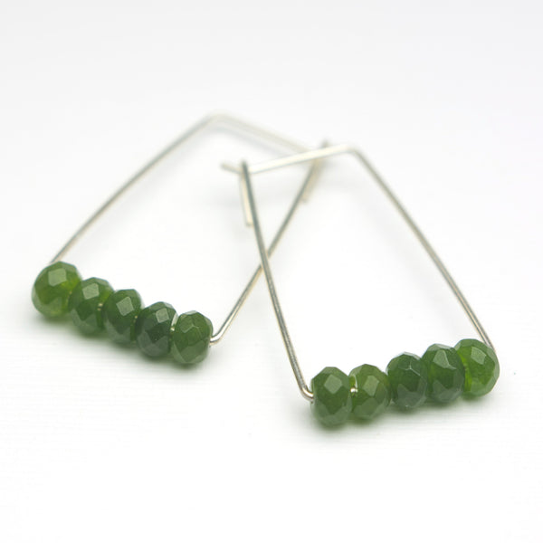 Perch Earrings :  Luxe Faceted Jade Deep Green