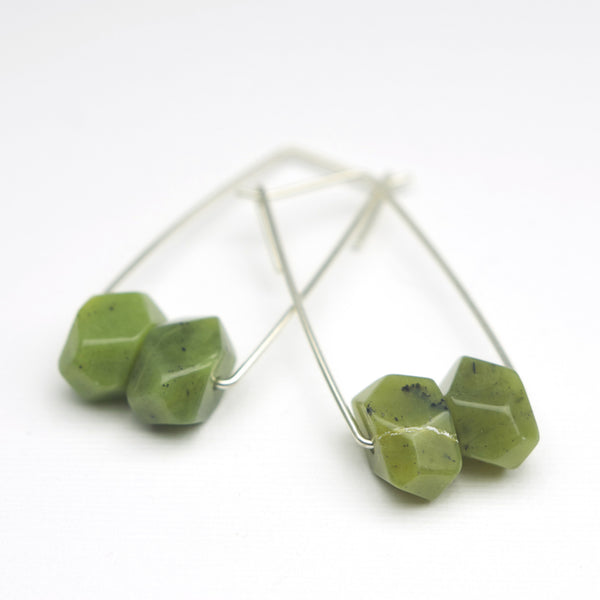 Perch Earrings :  Jade Nugget