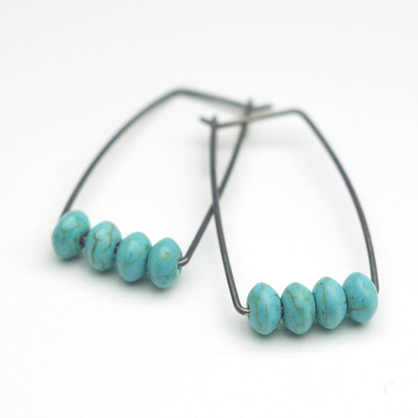 Perch Earrings :  Turquoise Abacus