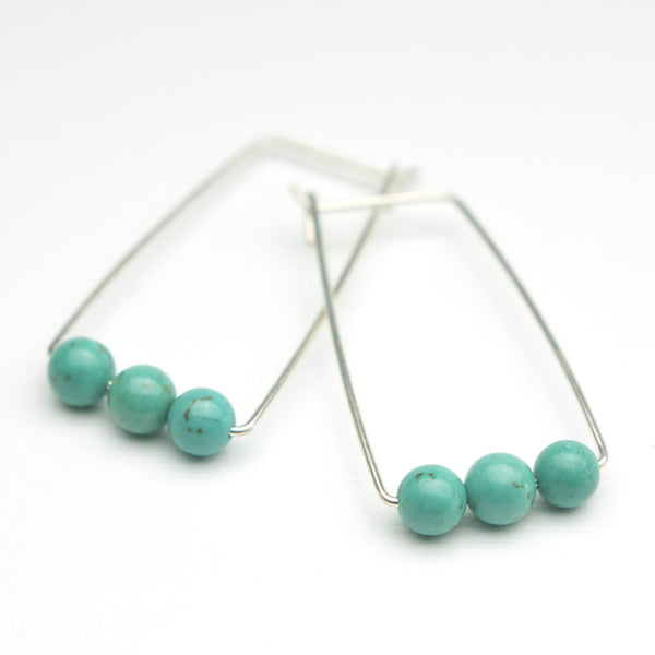 Perch Earrings :  Turquoise Rounds