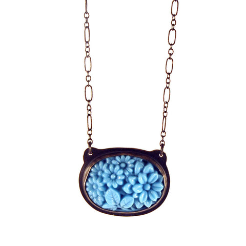 Robin Egg Blue Bouquet Antique Glass Necklace