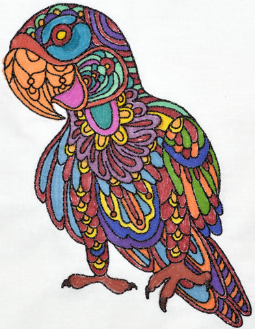Coloring Art Deco Parrots   ATWS-10036