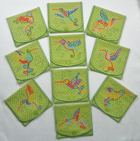 In-The-Hoop 2-Pocket Hummingbird Pouch  [5x7]  ATWS-10272