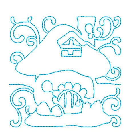 Continuous Line Fairy House Blocks   [4x4]  ATWS-10034