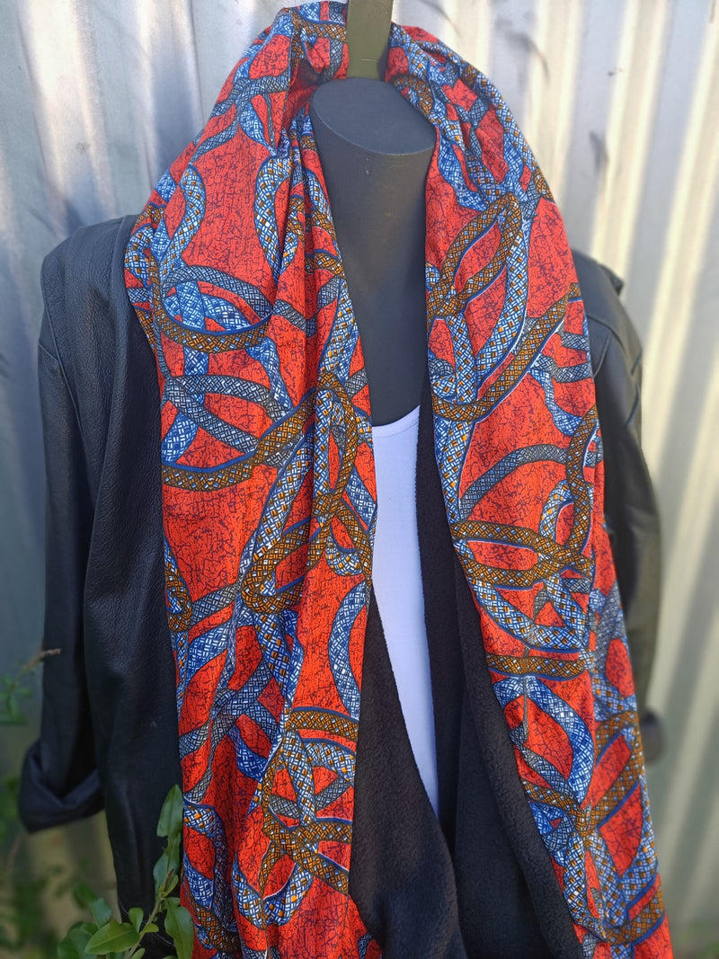 Infinity Scarf with a touch of African Print.