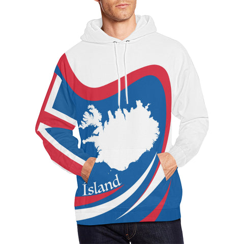 Image of 1stIceland Pullover Hoodie, Iceland Flag Map Coat Of Arms TH0 - 1st Iceland