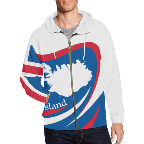 Image of 1stIceland Map Zip Up Hoodie, Ísland Flag Map Coat Of Arms TH0 - 1st Iceland