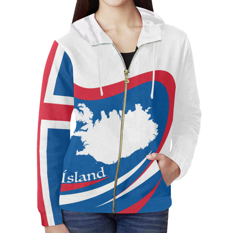 1stIceland Map Zip Up Hoodie, Ísland Flag Map Coat Of Arms TH0 - 1st Iceland
