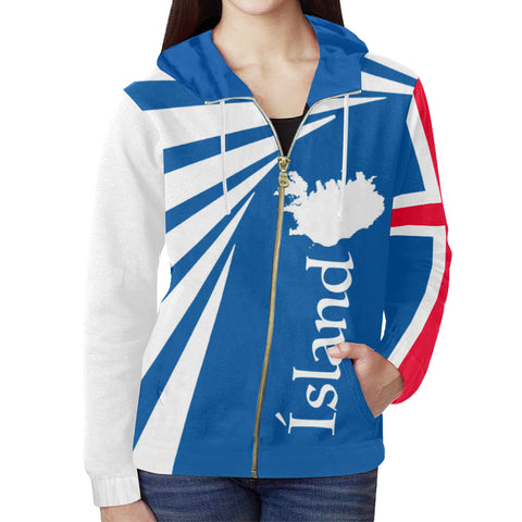 1stIceland Zip Up Hoodie, Iceland Flag Map Coat Of Arms TH50 - 1st Iceland