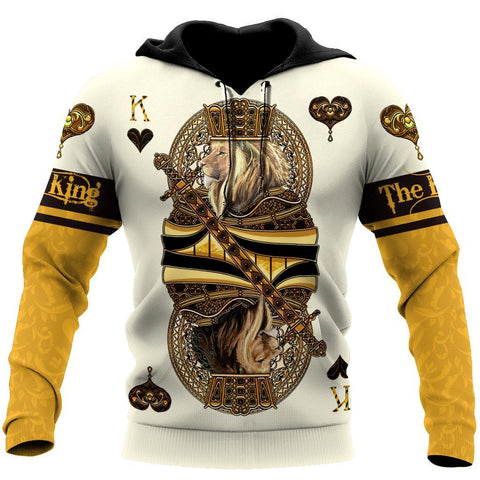1st Iceland Yellow King Heart Lion Poker Hoodie TH12 - 1st Iceland