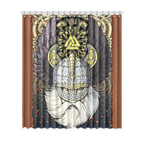 1stIceland Viking Window Curtain, Odin Norse Mythology Runes Valknut Th00 - 1st Iceland