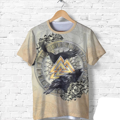 1stIceland Viking T-Shirt, Odin's Ravens Valknut Rune Circle TH00 - 1st Iceland
