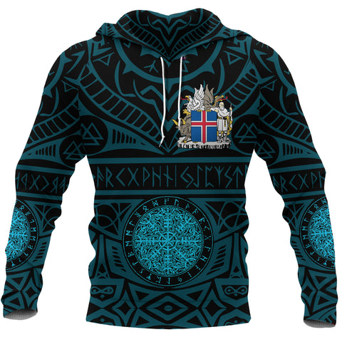 Image of 1stIceland Viking Pullover Hoodie, Iceland Coat Of Arms Helm Of Awe K4 - 1st Iceland