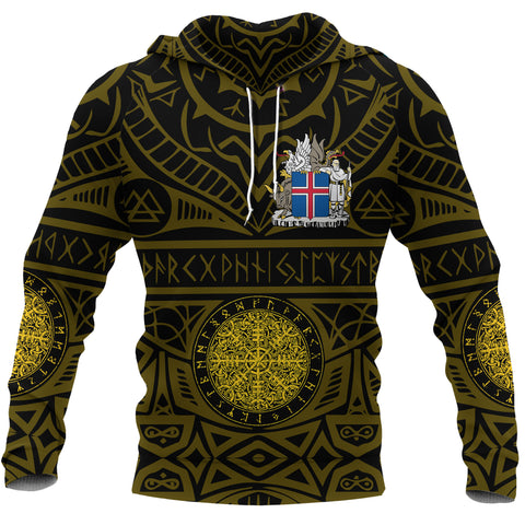 1stIceland Viking Pullover Hoodie, Iceland Coat Of Arms Helm Of Awe K4 - 1st Iceland