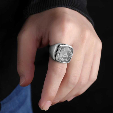 Image of 1stIceland Viking Silver Rings, Norse Triple Horn Of Odin K2 - 1st Iceland