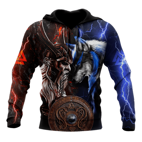 1sticeland Viking - Odin and Wolf  Hoodie TH12 - 1st Iceland