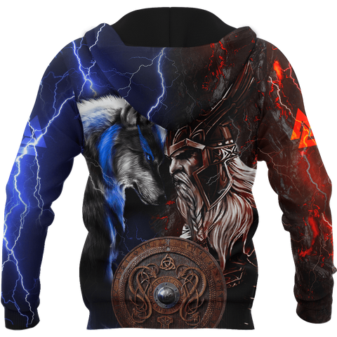 Image of 1sticeland Viking - Odin and Wolf  Zip Hoodie