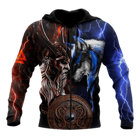 1stIceland Viking 3D Printed Unisex Zip Hoodie Odin And Wolf TH12 - 1st Iceland