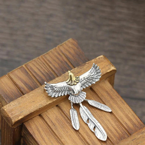 Silver Eagle Feather Necklace TH7