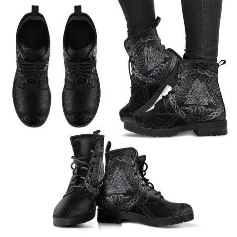 Image of 1stIceland Viking Leather Boots, Valknut Yggrdrasil A7 - 1st Iceland