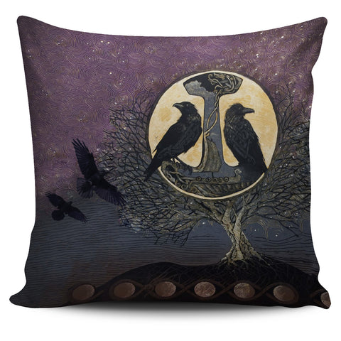 1stIceland Viking Pillow Cover, Raven And Tree Of Life K5 - 1st Iceland