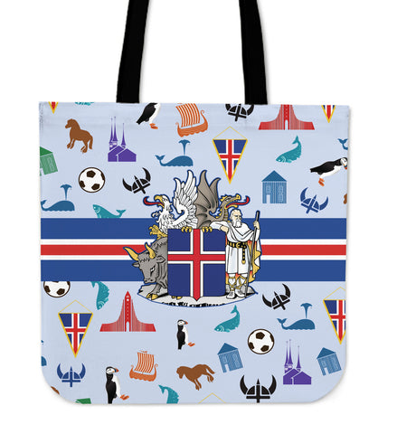 1stIceland Tote Bags, Iceland Coat Of Arms & Symbol K5 - 1st Iceland