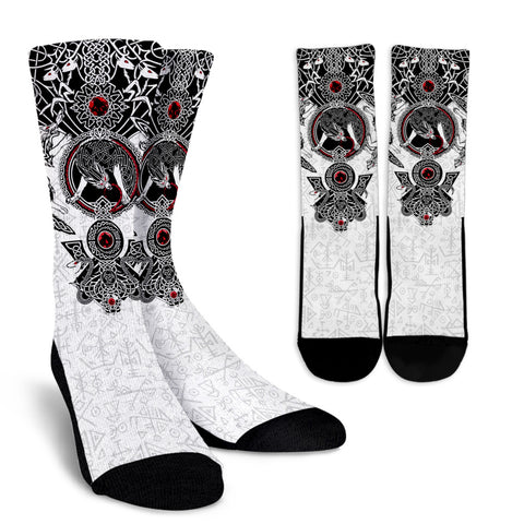 Image of 1stIceland Viking Socks - Fenrir Skoll And Hati Futhark Norse K5 - 1st Iceland