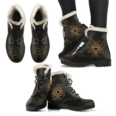Image of 1stIceland Viking Faux Fur Leather Boots, Yggdrasil Vegvisir Runes K7 - 1st Iceland